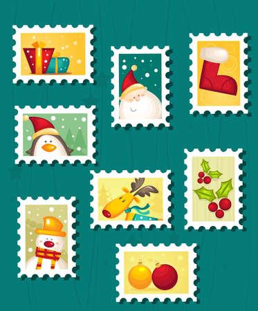 etiquetas de ropa: Conjunto de sellos postales de Navidad
