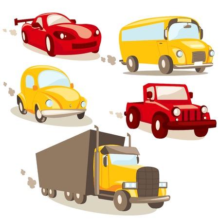 camion caricatura: Veh�culos de dibujos animados Vectores