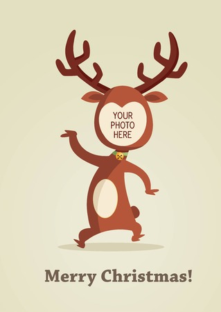 cartoon reindeer: Christmas reindeer card with place for your photo