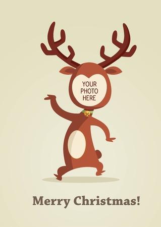 reindeer christmas: Tarjeta de Reno de Navidad con lugar para tu foto