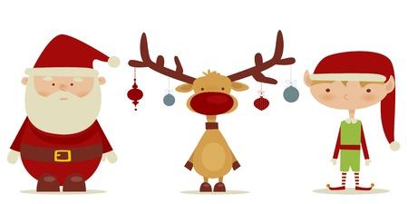 santaclaus: retro Santa claus, Elf, Rudolph  Illustration