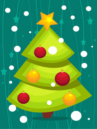 Cartoon Christmas tree card Stock Vector - 8453418