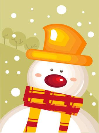 Christmas card with snowman  Stock Vector - 8453416