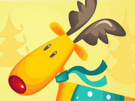 rudolf: Christmas greeting card with  Rudolf the reindeer Illustration