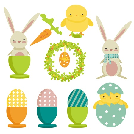 collection of easter theme icons, isolated Vector