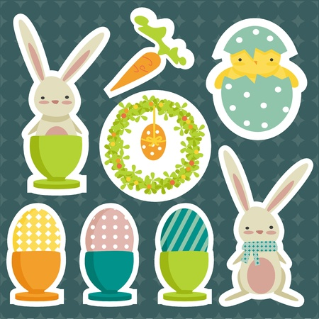 collection of easter theme stickers ,vector illsutration Vector