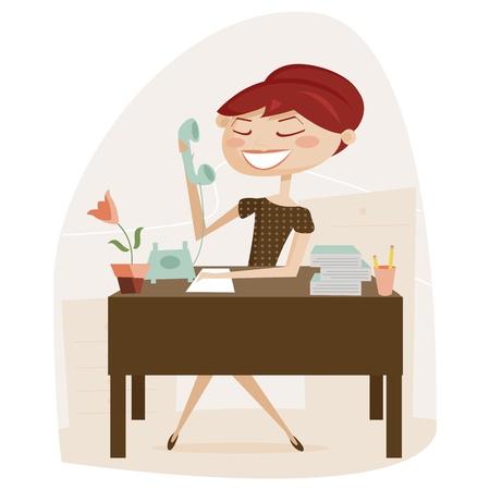 ragazza al telefono: Retr� donna che lavora, illustrazione vettoriale