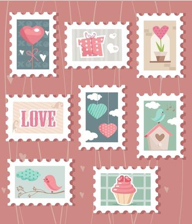 postmark: Satz von Valentinstag Briefmarken, Vector illustration