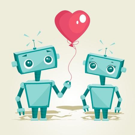robots in love, vector illustration Vetores
