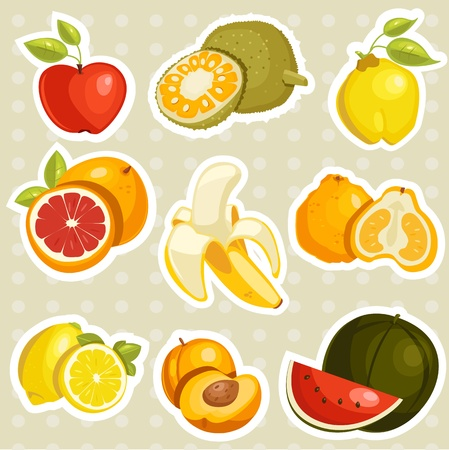 quince: Cartoon fruits stickers   illustration