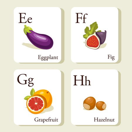 Fruits and vegetables alphabet cards , illustration, part 2of 7
