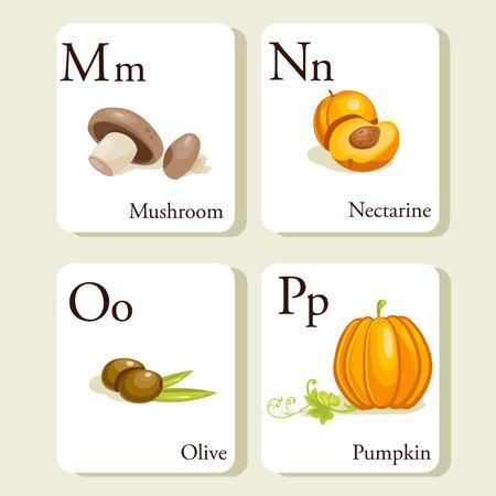 kids abc: Tarjetas alfabeto de frutas y verduras, ilustraci�n, parte 20oC 7