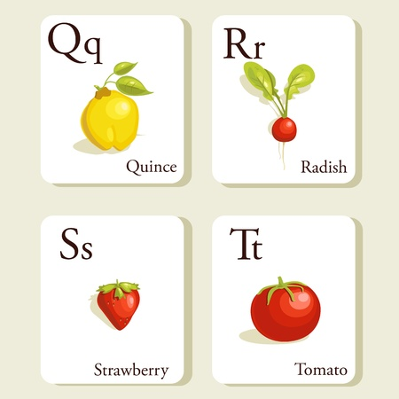 quince: Fruits and vegetables  alphabet cards , illustration, part 5of 7 Illustration