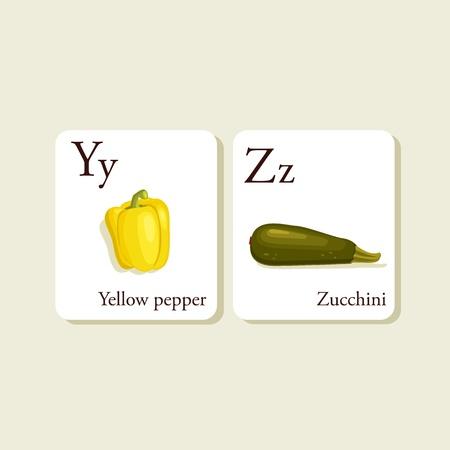 Groenten en fruit alfabet kaarten, illustratie, deel 7of 7 Vector Illustratie