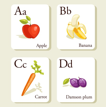 Fruits and vegetables  alphabet cards , illustration, part 1of 7 Vector