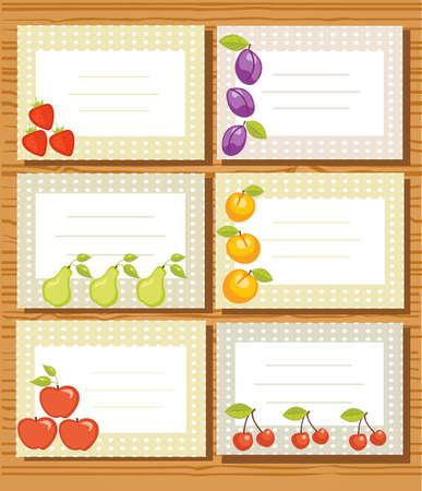 marmalade: Illustrazione di etichette di frutta Vettoriali