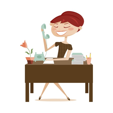 secretaries: Retro mujer trabajando, aislado de ilustraci�n