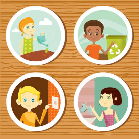 Green education stickers for kids,  illustration Vector