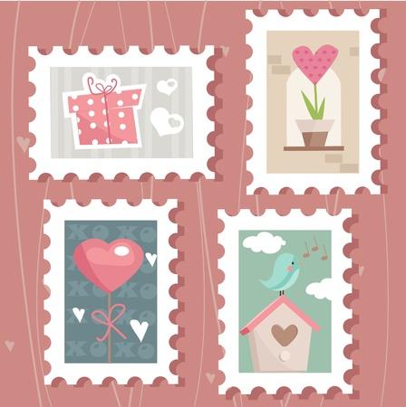 postage stamps: set of valentine`s day postage stamps,  illustration
