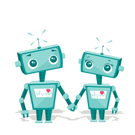 bras robot: robots amoureux, illustration
