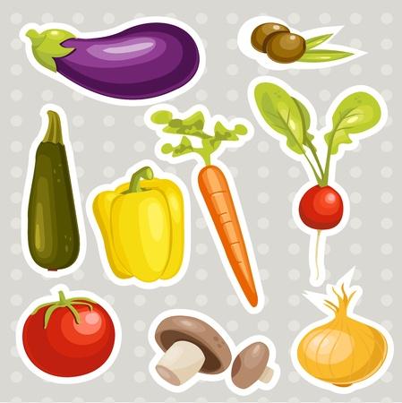 Cartoon vegetables stickers   illustration Vector