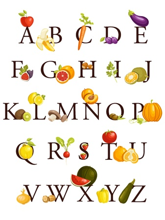 lískové ořechy: Fruits and vegetables  alphabet , illustration Ilustrace