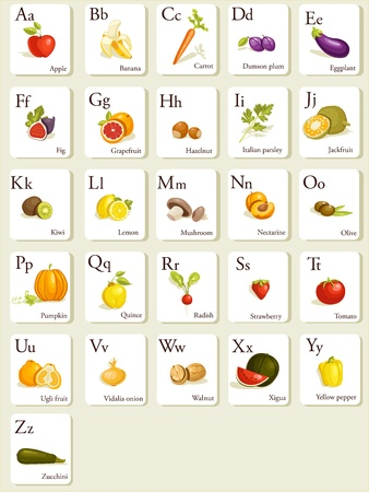 Fruits and vegetables  alphabet cards , illustration Vector