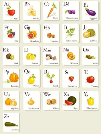 Groenten en fruit alfabet kaarten, afbeelding Vector Illustratie