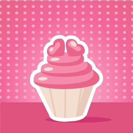 Vintage cupcake background vector illustration Vector