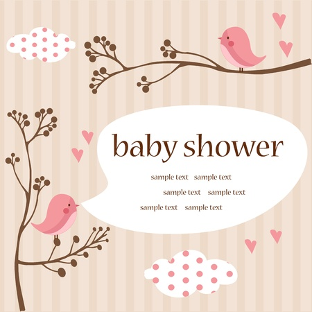 baby illustration: baby girl shower