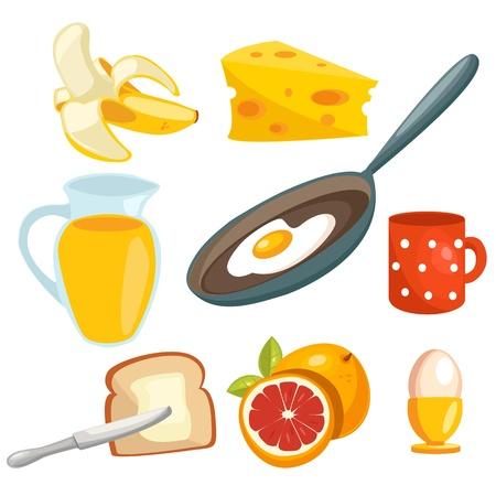 platanos fritos: colecci�n de dibujos animados desayuno  Vectores