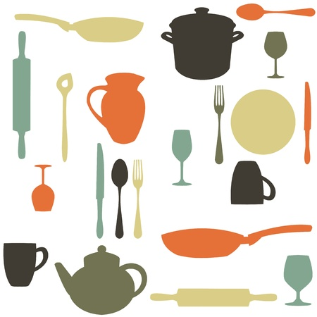 kitchen illustration: colorful kitchen pattern
