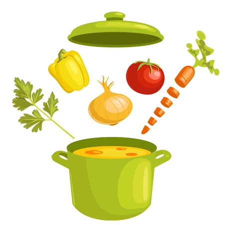 pots and pans: Vegetable soup with ingredients