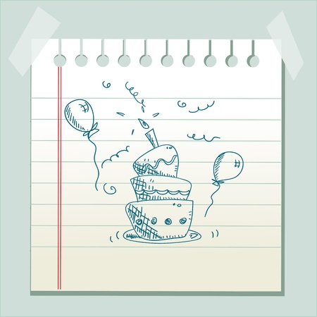 Hand drawn birthday cake Vector