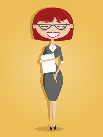 Retro cartoon secretary