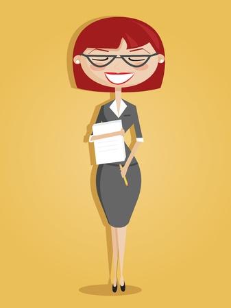 segretario: Segretario del cartone animato retr� Vettoriali