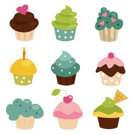 Cupcake colorido conjunto Ilustración de vector