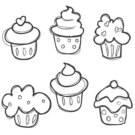 hand drawn cupcake set,