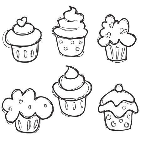 hand drawn cupcake set,