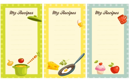 recipe decorated: set of old fashioned recipe card  Illustration