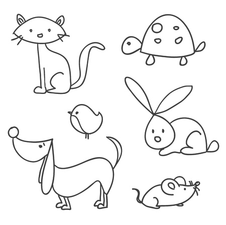 Hand drawn cartoon pets 일러스트