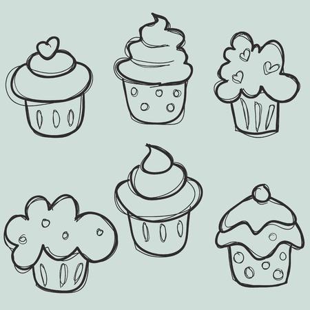 hand drawn cupcake set Vector