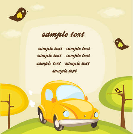 cartoon car background with place for your text Vector