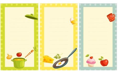 sopa: conjunto de moda de la vieja tarjeta de receta  Vectores