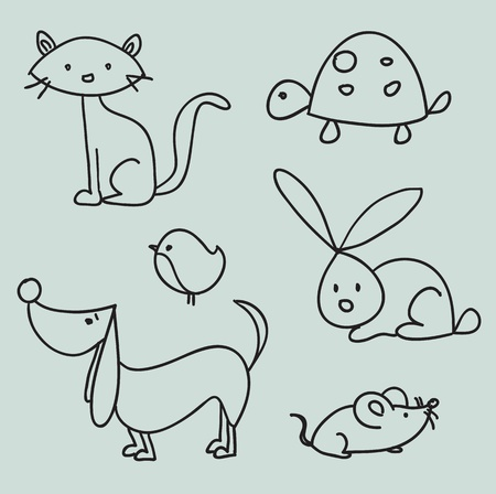 Hand drawn cartoon pets Vector