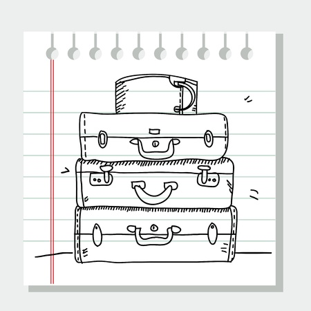reise retro: Kritzeln Koffer