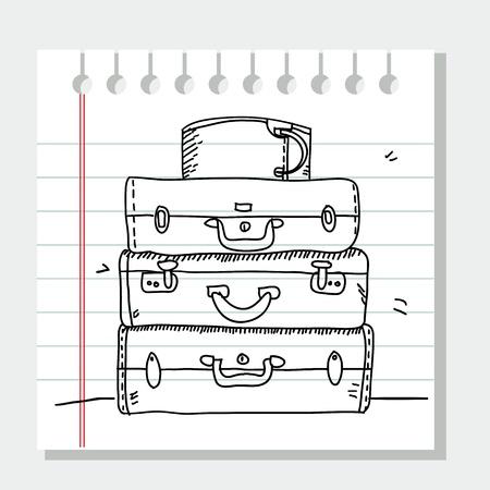 Scribble maletas  Ilustración de vector