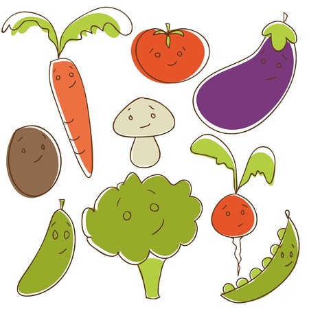 pea: Cute doodle vegetables