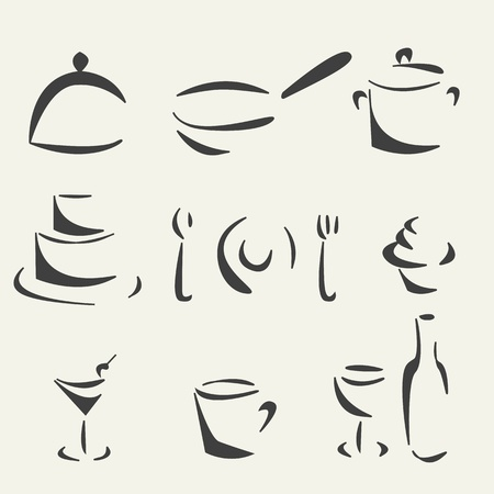 Sketch collection of foods Vector