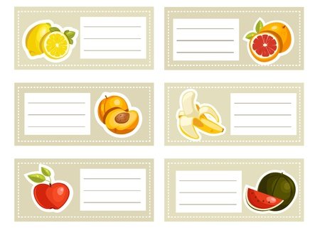 Back to school stickers with fruits Vector